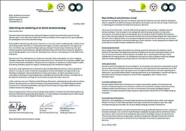 Fælles brev fra Danmarks Naturfredningsforening, Danmarks Biavlerforening og Landbrug & Fødevarer til miljøministeren Lea Wermelin